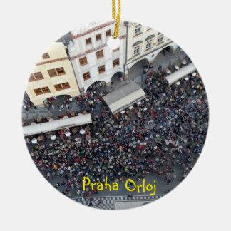 Ornamento astronómico de Praga del reloj de Praga Adorno Navideño Redondo De Cerámica
