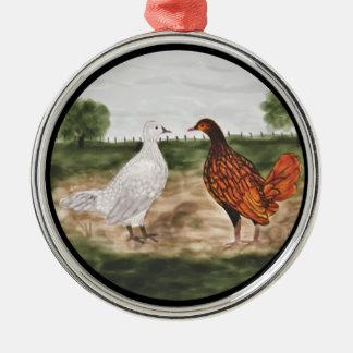 Ornamento atado de oro del árbol de los pollos de adorno redondo plateado