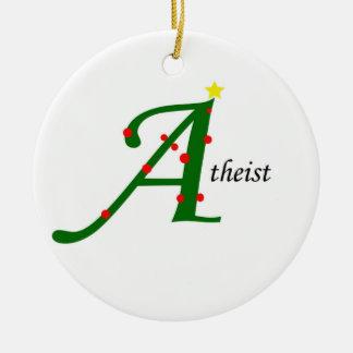 Ornamento ateo adorno navideño redondo de cerámica