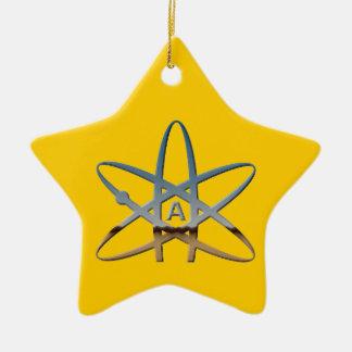 Ornamento ateo de la estrella del átomo adorno navideño de cerámica en forma de estrella