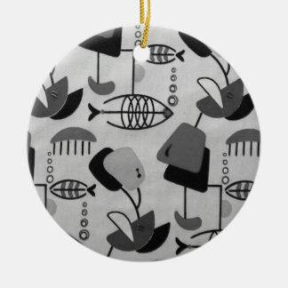 Ornamento atómico blanco y negro del navidad del adorno navideño redondo de cerámica