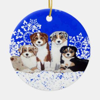 Ornamento australiano de la nieve de los perritos  ornamentos de reyes magos