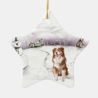 Ornamento australiano del navidad del pastor adorno navideño de cerámica en forma de estrella