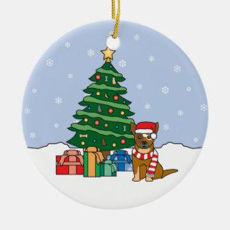 Ornamento australiano del navidad del perro del adorno navideño redondo de cerámica
