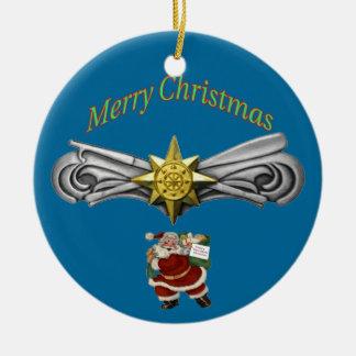 Ornamento avanzado de las operaciones de la fuerza adorno navideño redondo de cerámica