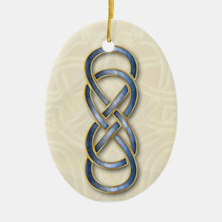 Ornamento azul 5 de Cloisonne del infinito doble