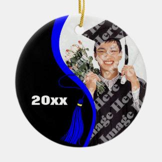 Ornamento azul adaptable de la graduación de la adorno navideño redondo de cerámica