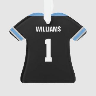 Ornamento azul claro y negro del fútbol del jersey