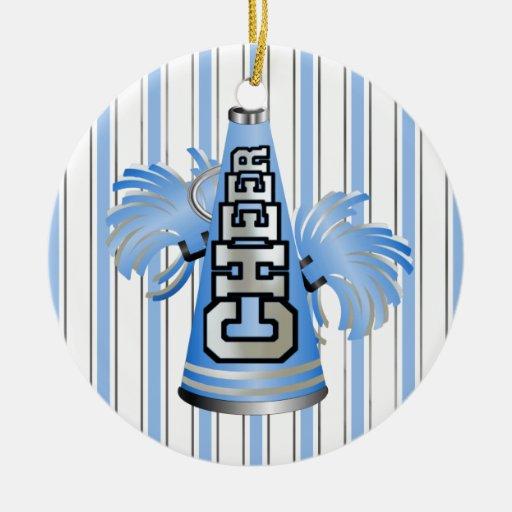 Ornamento azul de encargo de la animadora del adorno navideño redondo de cerámica