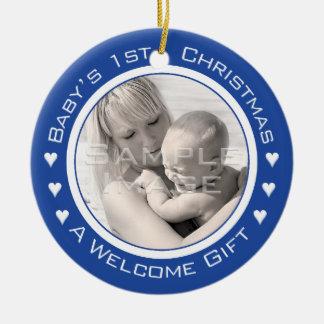 Ornamento azul de encargo de la foto del 1r navida ornamento de navidad