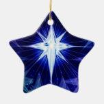 Ornamento azul de la estrella del navidad ornamento para arbol de navidad