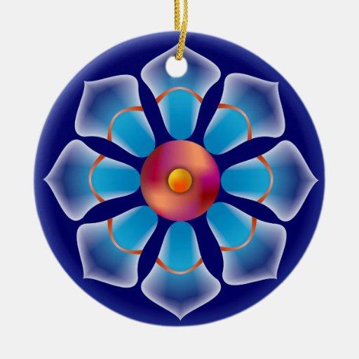 Ornamento azul de la flor adorno navideño redondo de cerámica