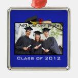Ornamento azul de la foto de la graduación ornamento para arbol de navidad