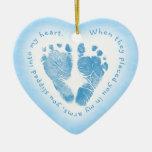 Ornamento azul de la foto de la huella del bebé ornamentos de navidad