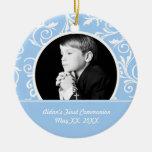Ornamento azul de la foto de la primera comunión adorno
