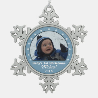 Ornamento azul de la foto del copo de nieve adorno de peltre en forma de copo de nieve