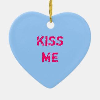 Ornamento azul de la foto del corazón de la adorno navideño de cerámica en forma de corazón