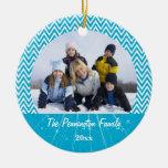 Ornamento azul de la foto del navidad del zigzag d adornos de navidad