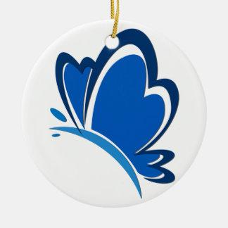 Ornamento azul de la mariposa adorno navideño redondo de cerámica
