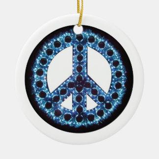 Ornamento azul de la paz adorno navideño redondo de cerámica