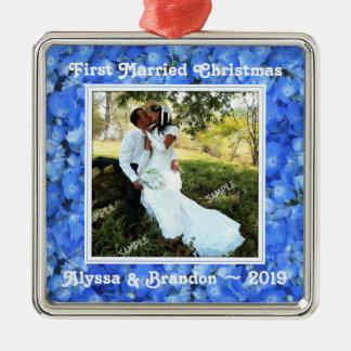 Ornamento azul de la plantilla de la foto del adorno navideño cuadrado de metal