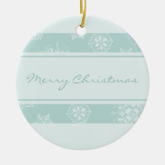 Ornamento azul de las Felices Navidad de los copos Ornamentos De Reyes
