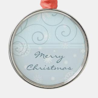 Ornamento azul de las Felices Navidad de los copos Adornos