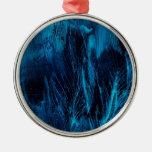 Ornamento azul de las plumas adorno de navidad