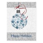 Ornamento azul de los copos de nieve de Ombre Postales