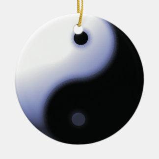Ornamento azul de Ying-Yang Adorno Navideño Redondo De Cerámica