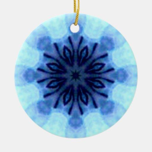 Ornamento azul del arte del copo de nieve adorno para reyes