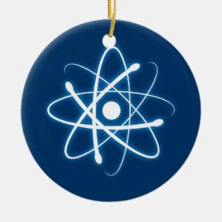 Ornamento azul del átomo ornamento de navidad