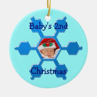 Ornamento azul del copo de nieve del 2do navidad adorno navideño redondo de cerámica