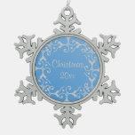 Ornamento azul del copo de nieve del navidad de la