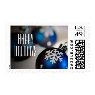 Ornamento azul del copo de nieve sellos postales