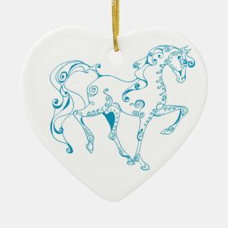 Ornamento azul del corazón del caballo adorno navideño de cerámica en forma de corazón
