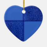Ornamento azul del corazón del remiendo retro ornamente de reyes