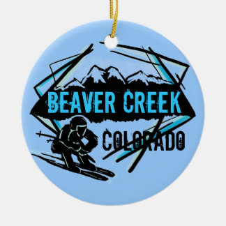 Ornamento azul del esquí de Colorado del Beaver Cr Adorno