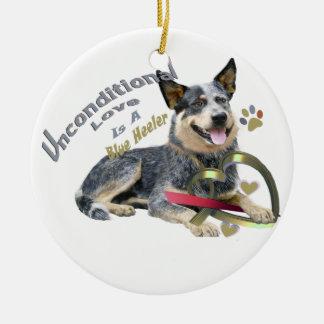 Ornamento azul del heeler del perro australiano adorno navideño redondo de cerámica