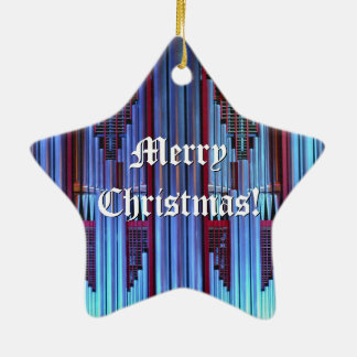 Ornamento azul del navidad adorno navideño de cerámica en forma de estrella