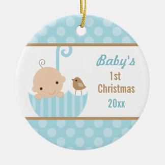 Ornamento azul del navidad de Babys del bebé 1r Adorno Redondo De Cerámica