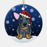 Ornamento azul del navidad de Heeler del dibujo Adorno Navideño Redondo De Cerámica