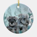 Ornamento azul del navidad de los perritos del Sch Ornamentos Para Reyes Magos