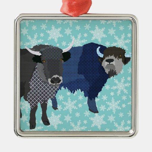 Ornamento azul del navidad de los yacs adorno navideño cuadrado de metal