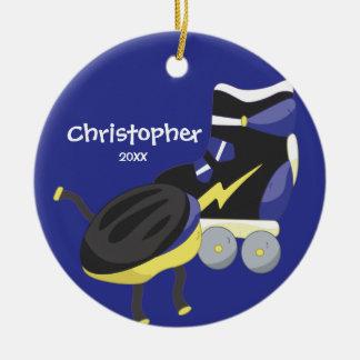 Ornamento azul del navidad del deporte del patín adorno redondo de cerámica