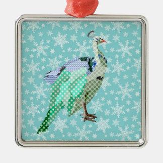 Ornamento azul del navidad del Peafowl Adorno Navideño Cuadrado De Metal