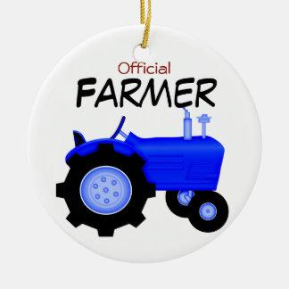 Ornamento azul del navidad del tractor adornos