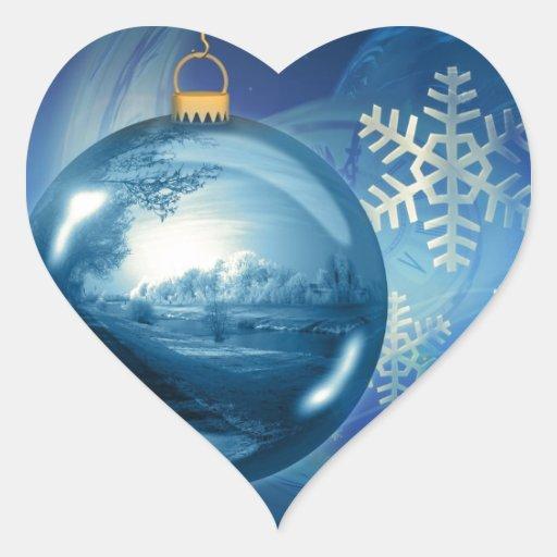 Ornamento azul del navidad pegatina en forma de corazón