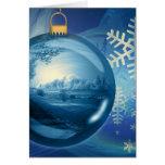 Ornamento azul del navidad tarjetón