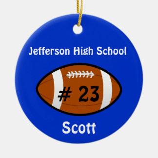 Ornamento azul del número del fútbol adorno navideño redondo de cerámica